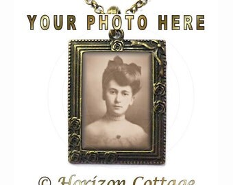 Custom Photo Picture Frame Pendant With Your Photo or Quote - Your Choice of Finish
