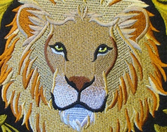 Extra Large Applique Patch, Regal Lion in a Baroque Style Frame, Jacket Patch, Biker Patch, Iron On or Sew On, Elegant and Sophisticated