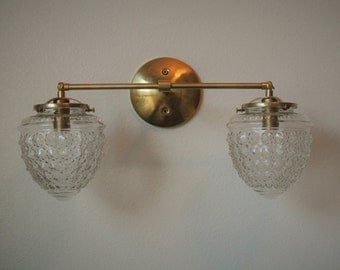 Double Beaded Glass Acorn Wired Wall Sconce - Bathroom Vanity Light
