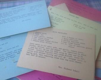 10 Vintage Recipe Cards Paper Ephemera, Vintage Paper Crafting Supplies