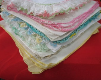 Hankie Lot Hankies and Rockabilly Red Scarf Sold as Lot 20 Total