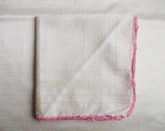 VIntage Hankie Handkerchief with Pink Edge
