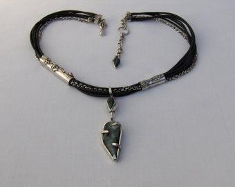 "Genuine Emerald ""Broken Heart"" Pendant,Brazillian Raw,Rough,Emerald Necklace,Emerald Leather Strap&Sterling Silver Necklace,Emerald Jewelry"