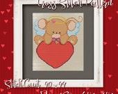 Valentine Mouse 12 Cross Stitch Pattern - Instant Download PDF - Modern Cross Stitch Design