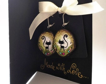 """GIFT! Wooden black cat, colorful rhinestone earrings in greeting card, ready for gifting """"Made with Love""""collection(green,white,beige,brown)"""