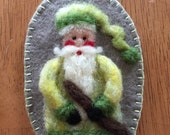 Needle Felted Santa With Light Green Variegated Hat A Christmas Ornament Done On Wool Felt