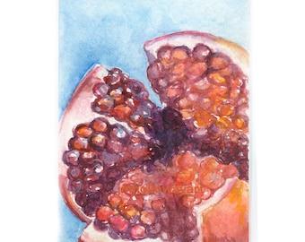 Art, Pomegranate Print, Watercolor, Print, Reproduction, Pomegranate