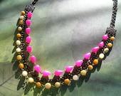 VARMEA Hot Pink Jade Drop Yellow Opal Nuggets Natural Gemstone Copper Metal Necklace