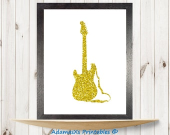 Gold guitar printable, Glitter gold print, Music wall art, Guitar poster, Gold art print, Music instrument digital art,Glitter art printable