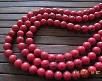 One strand of  Beautiful  Red  Howlite Bead, 8mm S6382