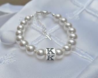Bracelet Baby Pearl Baptism Christening Bracelet-FREE SHIPPING-Personalized Bracelet-Initial Bracelet-Baby Keepsake-Childs Bracelet-gift