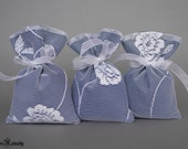 Lace favor bag set of 50 blue cotton lining floral classy wedding favor fabric double layer gift bags ready to ship