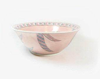 Pastel Peacock Bowl, Hostess Bowl, Decorative Enamel Bowl, Chinese Macau Porcelain, Oriental, Boho, Pretty Pink Peacock Feather Serving Dish