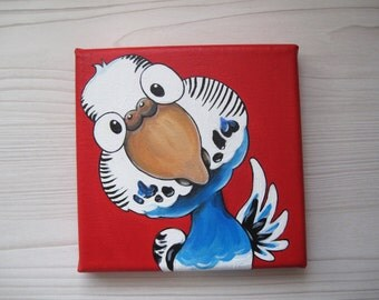 Original Blue and white Budie Painting, Acrylics on stretched canvas, Parakeet, Bird cartoon