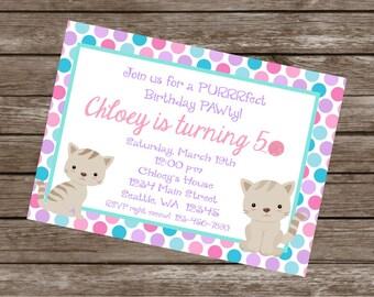KITTY CAT Happy Birthday Party or Baby Shower Invitations Set of 12 {1 Dozen}
