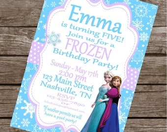 FROZEN INSPIRED Happy Birthday Party or Baby Shower Invitations Set of 12 {1 Dozen} - Party Packs Available