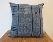 Hmong Indigo Batik Pillow-Cushion covers, New Cotton Textile, Natural Indigo Batik, Tribal, Indigo- Hmong Accent Pillow - Tribal Decor