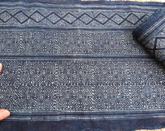 Hmong cotton-Indigo Batik fabric new, textiles and fabrics- From Thailand-Table runner,