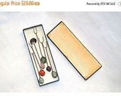 ON SALE Brazilian Gemstones Appetizer Implements Set of Six in Original Box