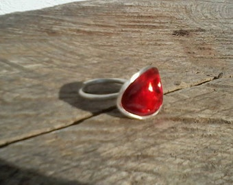 Sterling Silver Ring - Red - Made to Order