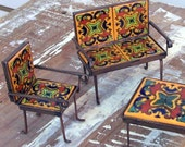 Miniature furniture set of 4 handmade  with metal work and Mexican Talavera tiles home decor kids room  and miniature collector gift