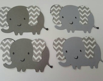 """set of 4  elephants 2"""" Die Cuts great for cupcake toppers, embellishment, invitations, baby shower"""