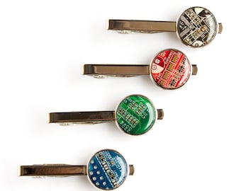 Modern Tie clip - circuit board tie clip - computer geek gift - gift for husband - stocking stuffers - geeky tie clip