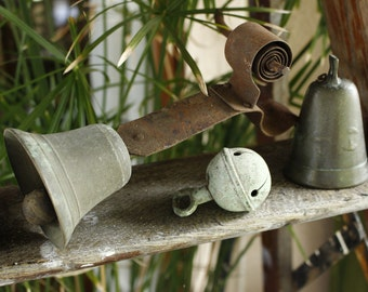 French Antique Bells THREE Bells...Downton Abbey Bell/Door Bell....Crotal Bell...Goat Bell....All lovely Tone