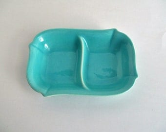 Vintage Franciscan Ware Double Dish Turquoise Potter Trinket Dish Made in California