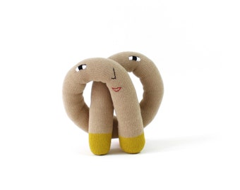 Mimi Pretzel - soft knitted lambswool toy, baby toy, plush toy