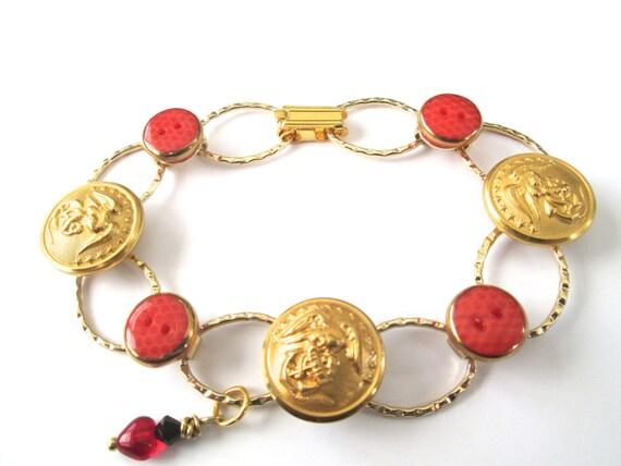 MARINE CORPS antique button bracelet, show your support