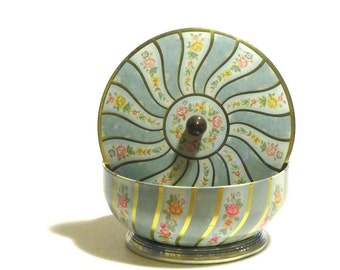 Vintage Floral Gold Striped Swirl Biscuit Tin Pastel Flowers Blue and Gold Knobbed Trinket Can Sewing Box  England Cottage Collectible