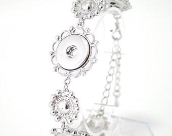 "1 Flower Bracelet - 7"" FITS 18MM Candy Snap Charm Jewelry Silver kb0540 CJ0251"
