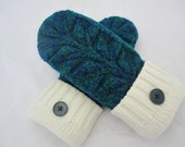 Women's pure wool mittens boutique style fleece-lined size small RTS