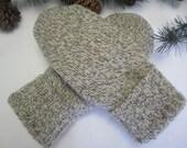 Men's ragg wool mittens size medium - large fleece-lined Valentine Gift RTS