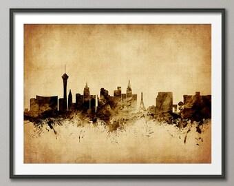 Las Vegas Skyline, Las Vegas Nevada Cityscape Art Print (2305)