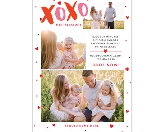 INSTANT DOWNLOAD  - Valentine Minis Photography Marketing board - Photoshop  template - E1261