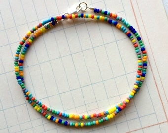 Multi-Color Tiny Seed Bead Necklace, Opaque Matte or Shiny Rainbow Size 11-0 Seed Bead Necklace/Choker, Choose a Length - Now Shiny Option!