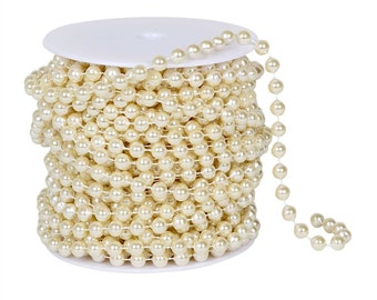 66 Feet -- 8mm Ivory Pearl Beads   Ivory Faux Wedding Pearls on Spool