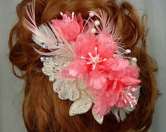 Bridal Headpiece, Coral Hair Flower, Wedding Hair Piece, Delphinium Fascinator, Bridal Hair Accessory