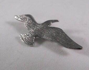 Vintage Silver Seagull In Flight Brooch Pin Pendant