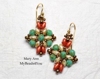 SuperDuo Beaded Earrings,Beadwoven Earrings,Turquoise Earrings,SuperDuo Beads,Seed Beads,Seed Bead Earrings,Beaded Jewelry, MyBeads4You