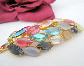 Pastel Rhinestone Brooch Open Back Lava Glass Navettes