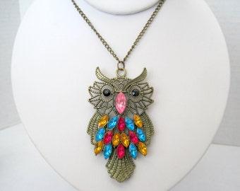 Multicolor Owl  Necklace - Bright  Rhinestone Pendant - 60's Necklace