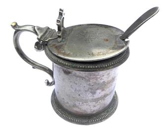 Victorian Salt Pot Martin Hall Antique Mustard Pot Monogrammed Lid Daniel & Arter Spoon EPNS Antique Preserve Pot Glass Liner Jamp Pot