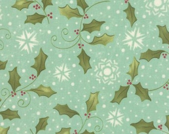 Very Merry Aqua Holly and Snowflakes by Sandy Gervais for Moda - One Yard - 17831 15