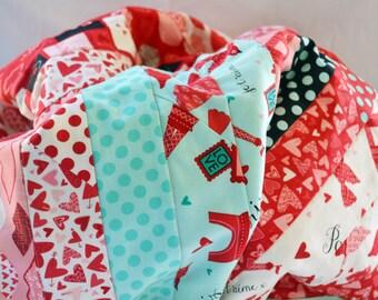 Love in Paris baby quilt, baby blanket, girls baby blanket, toddler quilt, heart blanket, girls quilt, nursery decor, jelly roll quilt