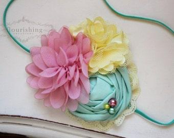Easter headbands, spring inspired headbands, pink headbands, mint headbands, newborn headbands, photography prop