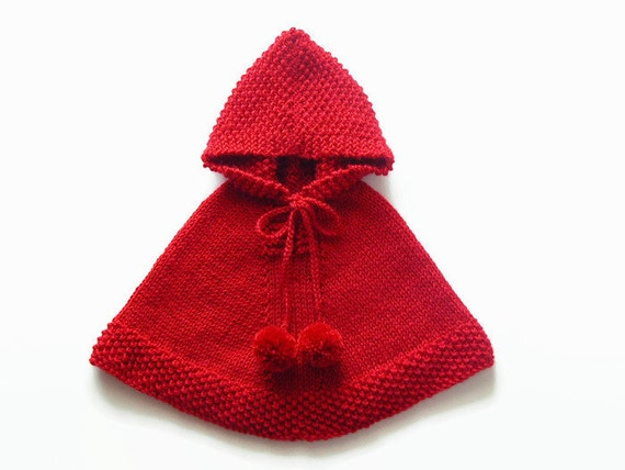 baby m dchen poncho rotes cape kleinkind stricken von. Black Bedroom Furniture Sets. Home Design Ideas