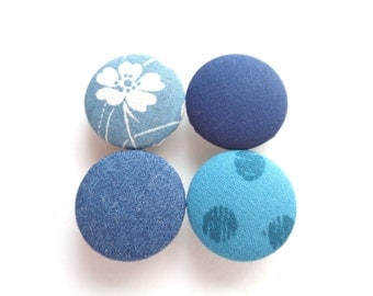 Blue Magnets, Teal Magnets, Fabric Magnets, Fabric Button Magnets, Fridge Magnets, Flower Magnets, Polka Dot Magnets, Eco Friendly Magnets